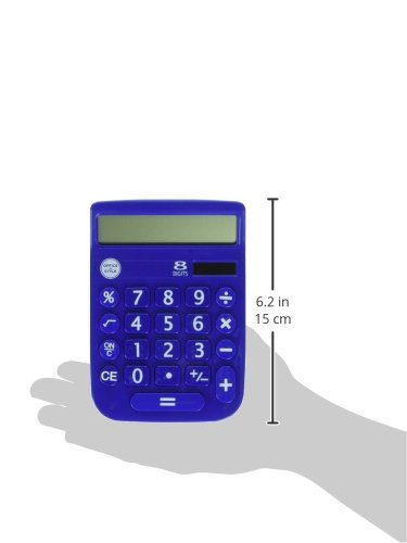 Office + Style 8 Digit Dual Powered Calculator with Large LCD Display, Blue (Pack of 6) by Office Style (Image #6)