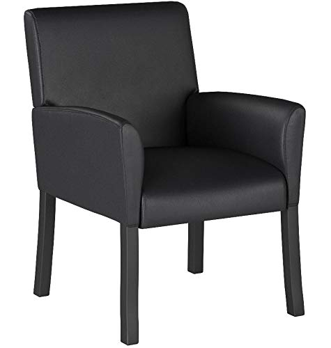 Boss Office Products B639-BK Executive Box Arm Chair with Mahogany Finish in Black by Boss Office Products (Image #6)