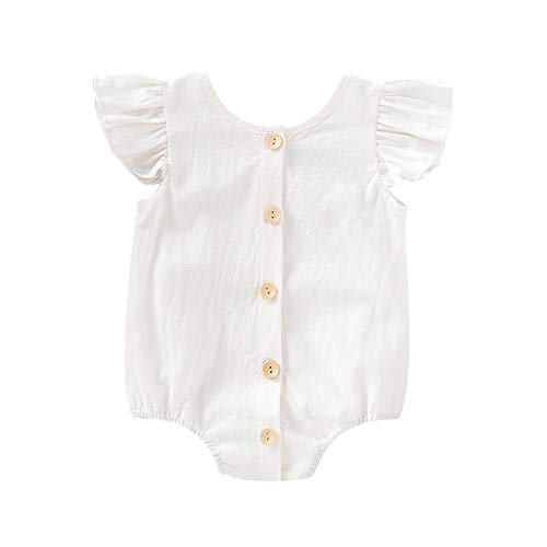 (RAINED-Baby Girl Rompers Buttons Sleeveless Playsuit Jumpsuits One-Piece Shorts Outfits Solid Ruffle Cotton Sunsuits White)