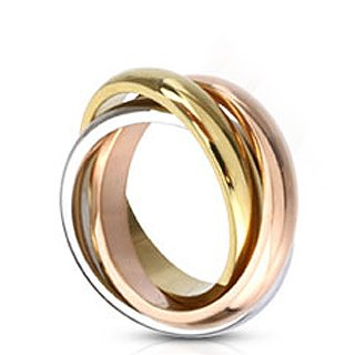 Stainless Steel Triple Tone Tri-Roll Links Band Ring Composed of 3 Colors: Gold, Rose Gold, and Steel Each Individual band is 4mm Total Width when Stacked Triple Band is Approximately 8mm Wide - (3 Link Ring)