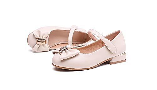Girls Kitten Heels Mary Jane Shoes - Round Toe with Rhinestone Bow Easy on Off Velcro (Beige-34/2.5 M US Boys Girls)