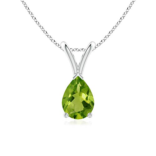 - V-Bale Pear-Shaped Peridot Solitaire Pendant in 14K White Gold (7x5mm Peridot)