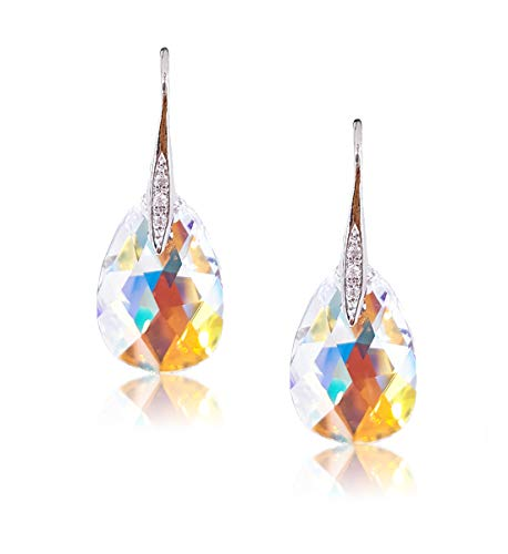 Artnouveau Elle Pear Pendant Drop Hook Earrings with Crystals from Swarovski (Crystal AB)