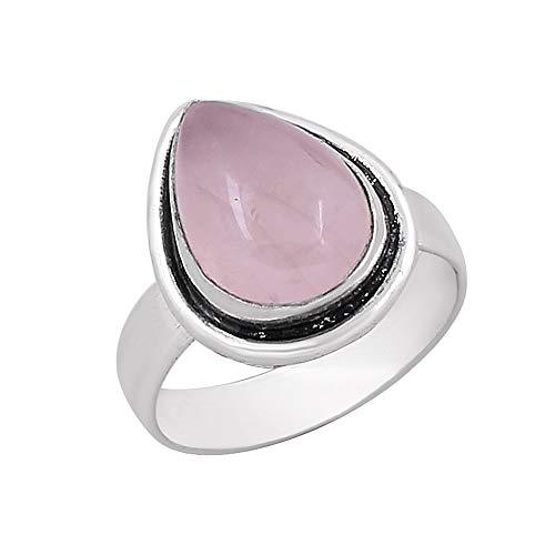 Rose Quartz Solitaire Ring - Genuine Pear Shape Rose Quartz Solitaire Ring Silver Plated Vintage Style Handmade for Women Girls (Size-9)