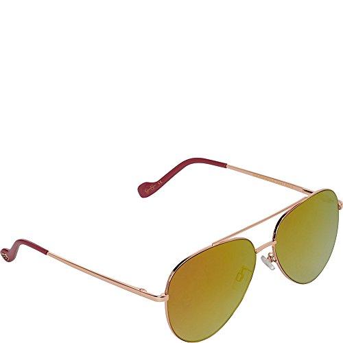 Jessica Simpson Sunwear Aviator with Flat Lens Sunglasses (Rose - Simpson Gold Sunglasses Aviator Jessica