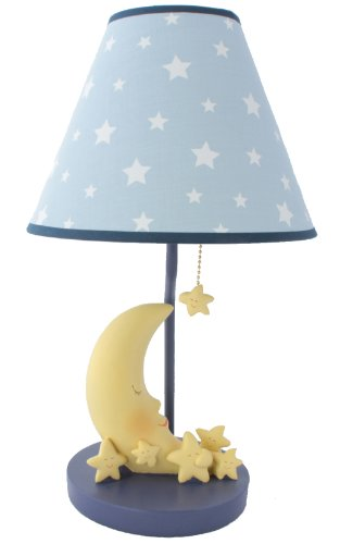 Sleepy Moon and Stars Table Lamp with Matching Night Light - Fantastic Hand Painted ()