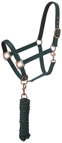 Tough 1 Neoprene Padded Halter with Antique Hardware Lead Set, Green/Hunter