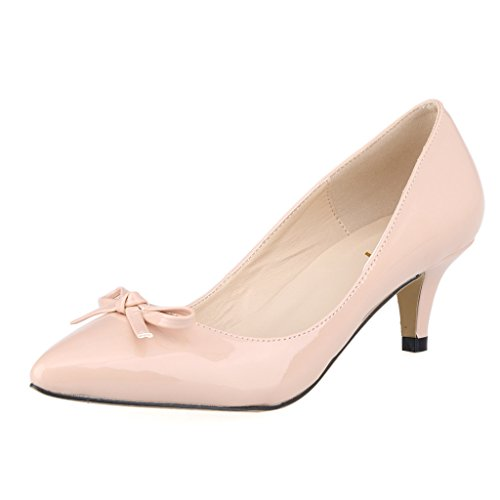 ZriEy(TM) Women's Middle heel shoes Bow Simple Pumps Elegant Sexy Fashion Pointed Toe Shoes Nude size 8.5