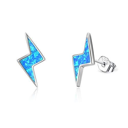 WINNICACA Lightning Bolt Earrings Sterling Silver Blue Opal Thunder Button Stud Earrings Jewelry Gifts for Women Girls