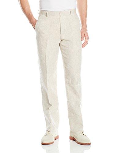 Palm Beach Men's Oxford Linen Plain Front Dress Pants, Natural, 34W Regular