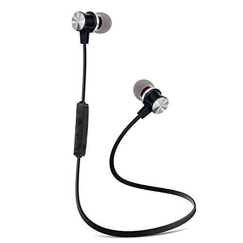 Active Noise Cancelling Bluetooth Earphones with Microphone, BYZ1 Bluetooth V4.2 Wireless Headphones in Ear Earbuds Deep Bass HiFi Stereo Sound, 8 Hrs Playtime for Travel, Work (Black)