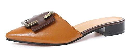 Temperament Metallgürtelschnalle Schuhe Pantoffel Art und Weise wilde weibliche spitz brown