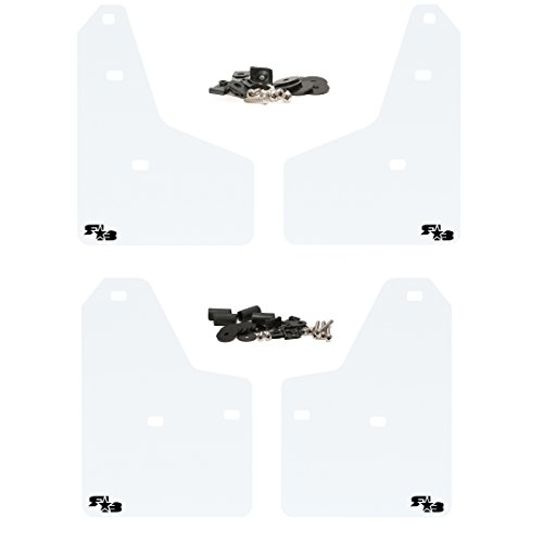 (RokBlokz Mud Flaps for 2012+ Ford Focus - Multiple Colors Available - Set of 4 - Fits All MK3 Models - Includes All Hardware and Detailed Instructions (White with Black Logo, Originalz))