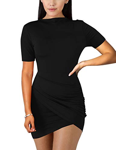 BORIFLORS Women's Sexy Wrap Front Long Sleeve Ruched Bodycon Mini Club Dress,Small,Black