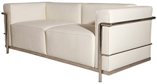 MLF Le Corbusier Style LC3 Grande Loveseat Sofa, White Premium Italian Leather