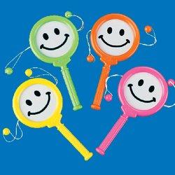 Plastic Mini Smile Face Noisemakers 12/pk.