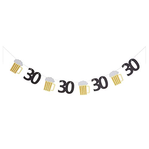 Beer Birthday Banner Cheers to 30 Years Paper Graland 30th Birthday Age Party Decorations