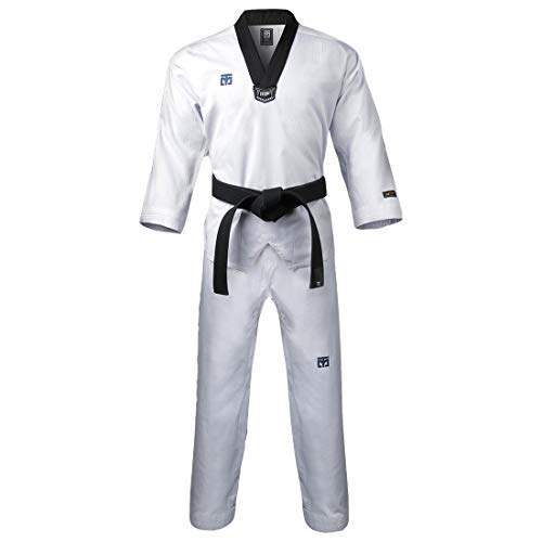 Mooto Korea Taekwondo 3F Uniform Black Neck for Male TKD MMA Martial Arts Karate Hapkido Judo JIU-Jitsu (170(Height:170~179cm)(5.58~5.87ft))