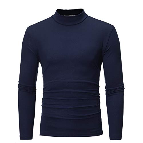 Toimothcn Men's Solid Sweater Pullover Tops Long Sleeve Turtleneck T-Shirt Blouse Cozy (Navy,M)