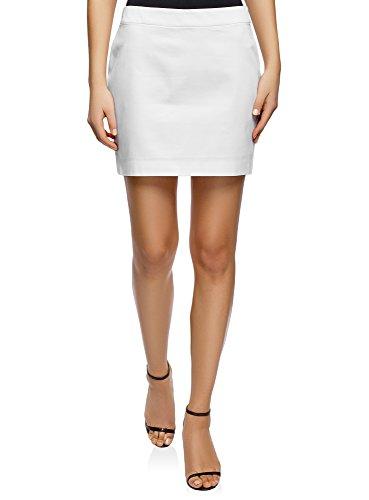 oodji Ultra Femme Mini-Jupe en Tissu de Coton Blanc (1000n)