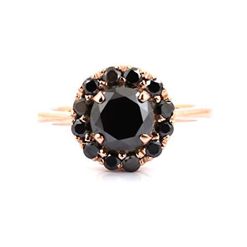 - skyjewels 2.50 Cts Brilliant Cut Black Diamond Solitaire Women Ring in Rose Gold Fancy Flora Beautiful Design