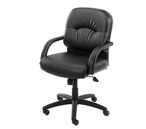 (Wood & Style Office Home Furniture Premium Office Products Mid Back Caressoft Chair in Black)