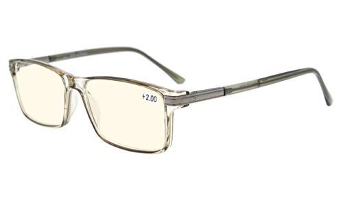 Eyekepper Bifocal Progressive Multifocus Reading Glasses-TR90 Frame Spring Hinges 3 Levels Vision Readers,Grey Frame,+2.50