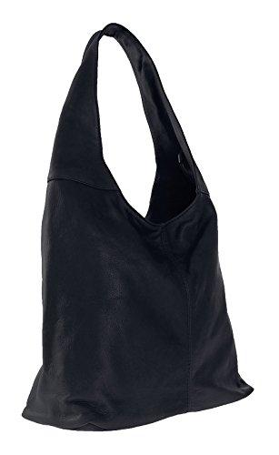 CTM à en cuir fermeture la femme éclair Dark à sac dans bandoulière 41x55x12cm Made in Italy 100 sac main Blue véritable nnSxO7W