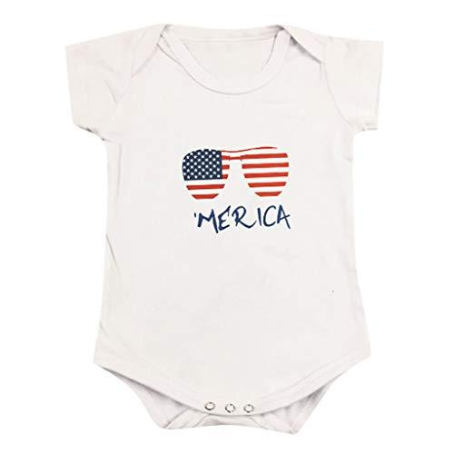 Emimarol Infant Baby Girl Boy Romper, Short Sleeve Star Striped Print Bodysuit, Fashion Basic for Newborn Toddler Kid White ()