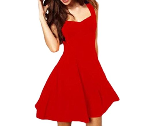 Sera Partito Profondo Scollo V Abito A Maniche Coolred Rosso Senza Di Colore Puro Da Elegante donne 0w406qvYp