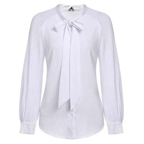 ACEVOG Women Chiffon Pussy Bow Tie Neck High Collar Blouses Long Sleeve Patchwork Casual Shirt White