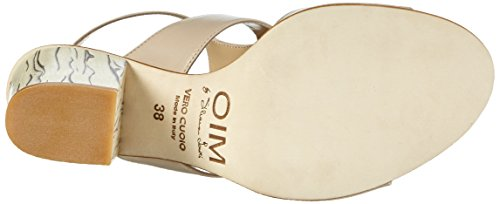 Objects in Mirror B631 Damen Offene Sandalen mit Blockabsatz Beige (Beige)