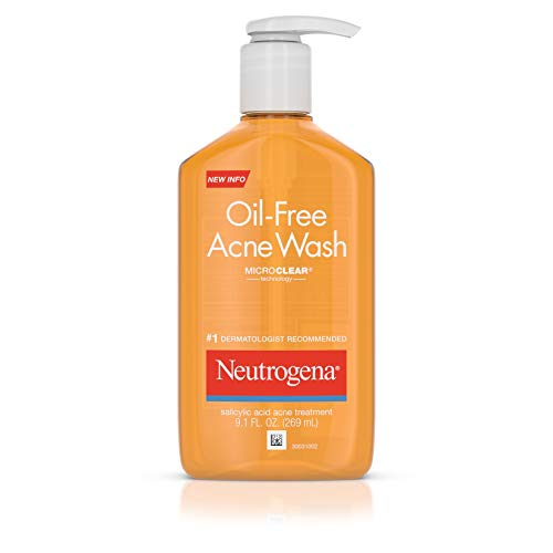 Neutrogena Oil-Free Acne Fighting Facial Cleanser with Salicylic Acid Acne Treatment medicine,, Daily Oil Free Acne Face Wash for Acne-Prone Skin with Salicylic Acid Medicine, 9.1 fl. oz (Pack of ()