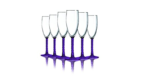 Purple Angelique Flute Glasses with Beautiful Colored Stem Accent- 5.75 oz. set of 6. Additional Vibrant Colors Available