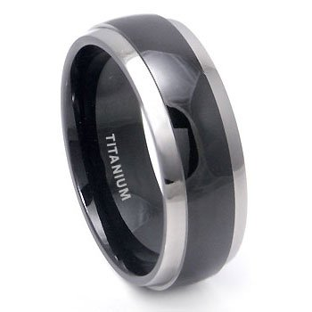 Captivating Black Titanium Wedding Band Ring With Grey Titanium Edge Sz 7.5 SN#d025