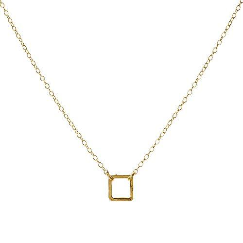Custom Gold Square Necklace Geometric Pendant 14k Gold Filled ()