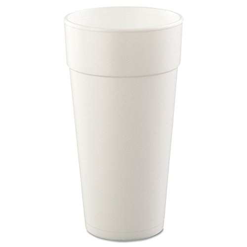 Dart Foam Cups, Hot/Cold, 24 oz., White, 25/Bag - Includes 20 sleeves of 25 each. by DCC24J16