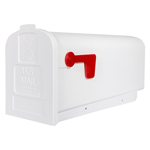 Gibraltar Mailboxes Parsons Medium Capacity Rust-Proof Plastic White, Post-Mount Mailbox, PL10W0201 (White Plastic Post)