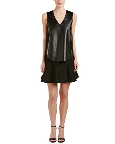 derek-lam-10-crosby-womens-2-in-1-leather-front-a-line-dress-6-black