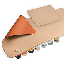 sølmo I Design Schreibtischunterlage 85x40cm mit Extra Mauspad PU Leder Abwischbar, Schreibtisch Unterlage Groß, Büro…