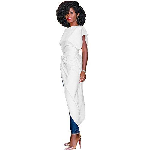 Cuello Verano Trajes Redondo M Sólido Manga White Plisada Vestido Corta Falda Casual Mujeres Irregulares 1rI1R
