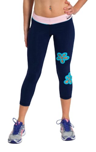 Corduroy Rhinestone Rose (Capri Pants Supportive Comfort Fit In Sport Performance SUPPLEX Fabric Sara Crave)
