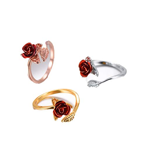 Ferusshomic Red Rose Garden Flower Leaves Resizable Finger Rings for Women Open Ring Rose Gold Color - Ring Stackable Flower Romantic