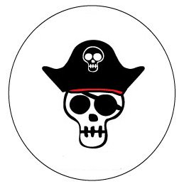 60 High Gloss Pirate Skull Stickers, 1.5 inch, for Themed Birthday Parties (Diy Halloween Themed Birthday Party Invitations)