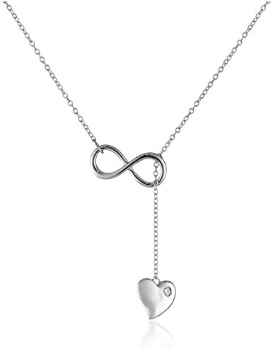 Sterling Silver Cubic Zirconia Infinity and Heart Lariat N-Neck Necklace (17mm), 16.5