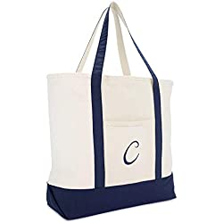 DALIX Monogram Tote Bag Personalized Initial Navy Blue - C