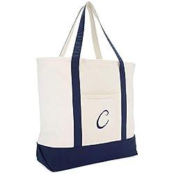 DALIX Monogram Tote Bag Personalized Initial Navy Blue -C