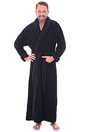 Del Rossa Mens Turkish Terry Cloth Robe, Long Cotton