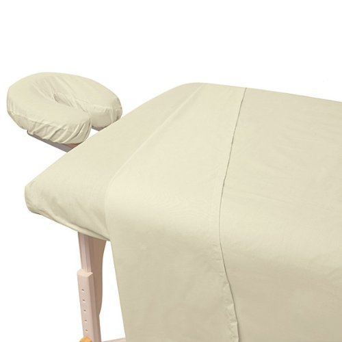 - Atlas Natural Unbleached 3-Piece Massage & Spa CottonPoly Table Linen Set with Soil Release Finish, Large Flat Sheet, Quality Preferred by Professionals, 190 Thread Count Percale