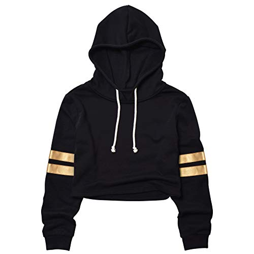 Crop Top Hoodies for Women Cropped Hoodie Gold Leather Striped ()